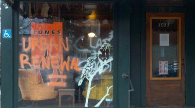 The Sparrows, a coffeehouse and newsstand at 1035 Wealthy St. SE, was among the businesses vandalized early Christmas morning, 2010.